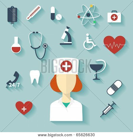 Flat Design Modern Vector Illustration Of Medical Icons