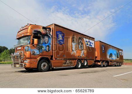 Orange Scania Trailer Truck With James Bond Theme