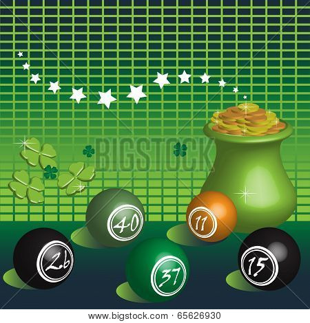 Golden pot and lottery balls