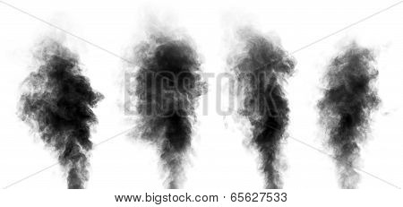 Set Of Steam Looking Like Smoke Isolated On White