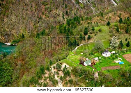 Small Village In Mountains. Montenegro.