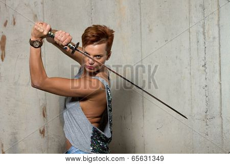 Female Warrior  with Katana sword