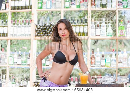 Brunette Woman in bikini at the summer beach bar