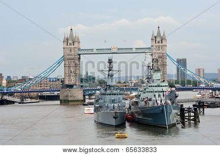 Tower bridge and HMS Belfast from London Bridge