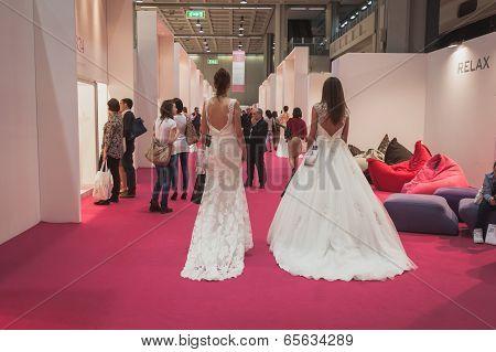 Models Wearing Wedding Dresses At Si' Sposaitalia In Milan, Italy