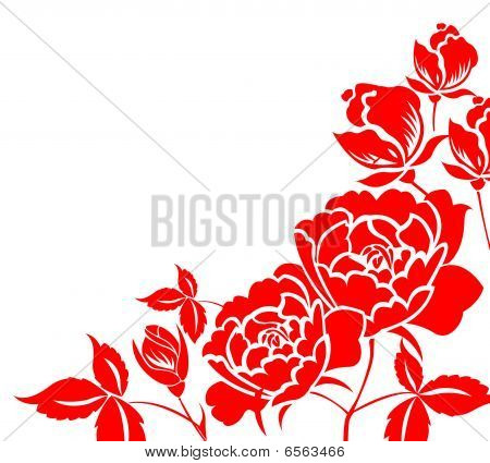 chinese  paper-cut of red peony