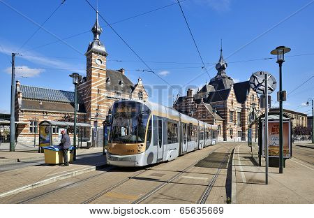 Brussels, Belgium - May 25, 2014: New Type Of Brussels Tram Waiting At The Terminus In Front Of The