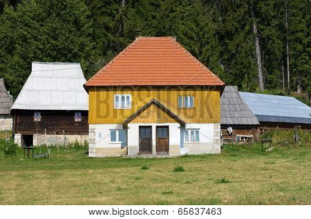 traditional wooden house in Kamena Gora, Serbia