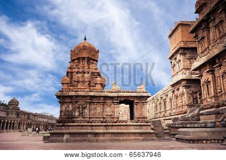 Brihadishvara Temple 12th century AD over blue sky. South India, Tamil Nadu
