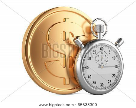 Time Is Money - 3D Illustration Of Stopwatch And Gold Coins