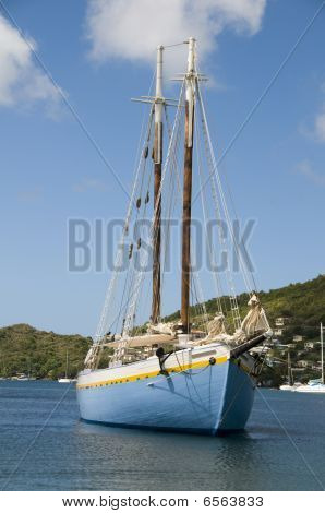 Classic Wood Schooner In Harbor Bequia St. Vincent And The Grenadines