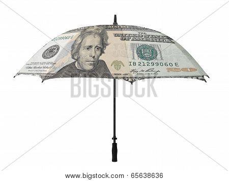 Business Concept: Umbrella With A Twenty Dollar Bill -verso