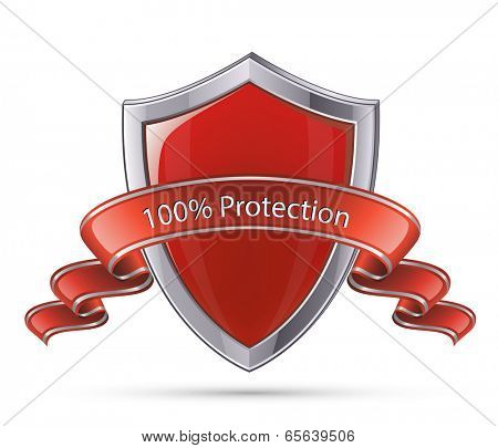 Protection concept. 100 percent protection shield symbol. Vector illustration of red glossy shield
