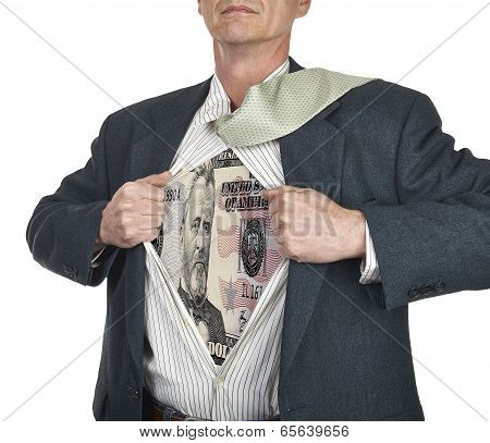 Businessman Showing Fifty Dollar Bill Superhero Suit Underneath His Shirt