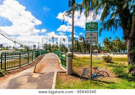 bridge and bike lane in Kailua, Oahu, Hawaii