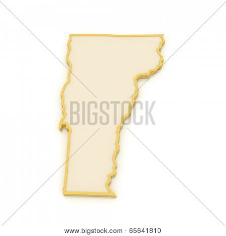 Three-dimensional map of Vermont. USA. 3d