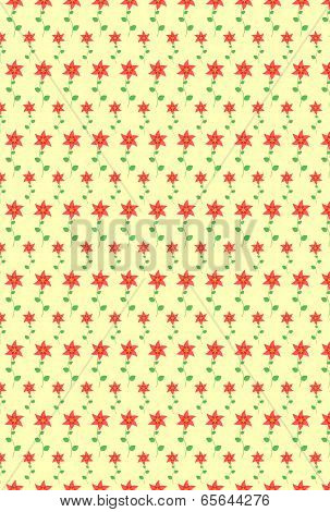 Seamless Floral Pattern. Flowers Texture On Yellow Background.