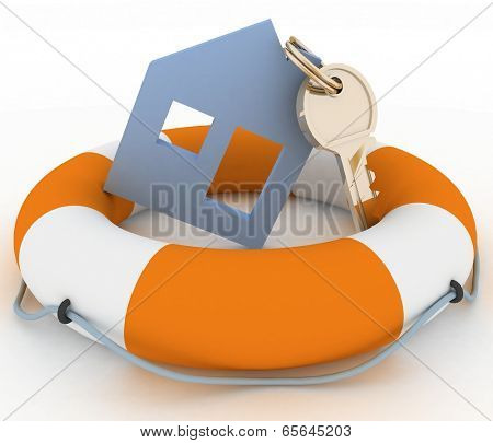 House insurance concept. Icon of House in Life Buoy on a white background