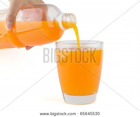 Orange Juice Poured From Bottle To A Glass