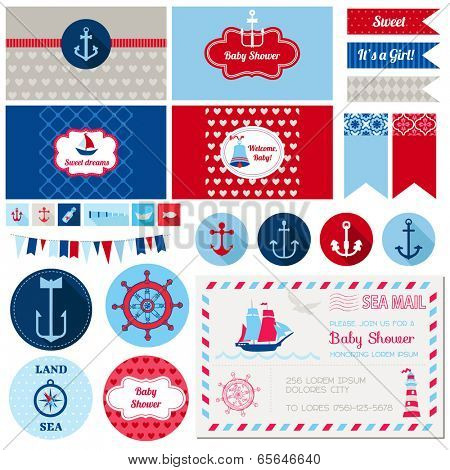 Scrapbook Design Elements - Baby Shower Nautical Theme - in vector