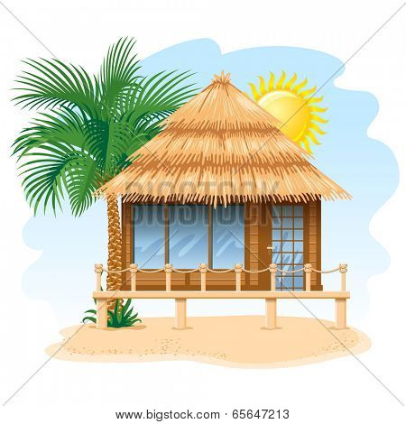 Wooden water bungalow on coast of tropical sea. Vector illustration.