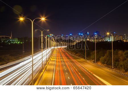 Perspective Highway View At Night
