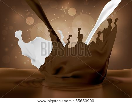 Pouring cocoa, chocolate and milk
