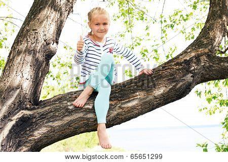 Carefree  Girl In Spring Or Summer Forest Park