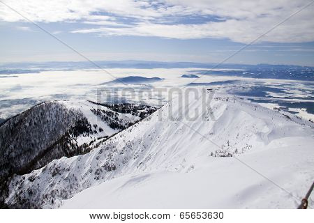 Mountain with a ski slope (shot on Krvavec, Slovenia)
