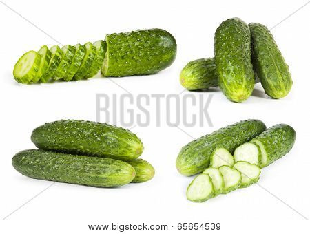 green cucumber vegetable fruits isolated on white background
