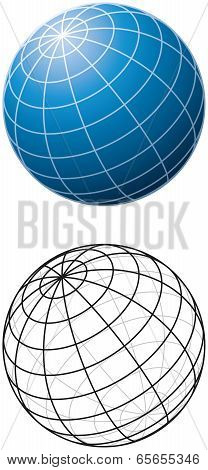 Blue Sphere With Meridians