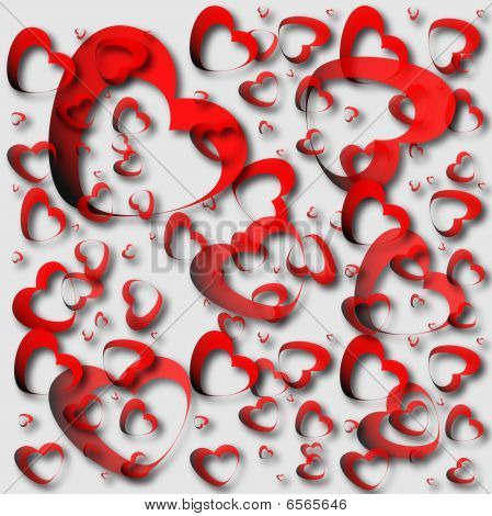 Red Hearts And Light Background