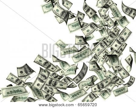 Flying banknotes of dollars. Isolated on white background