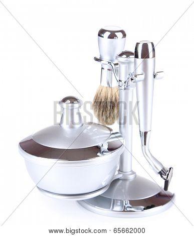 Male luxury shaving kit, isolated on white