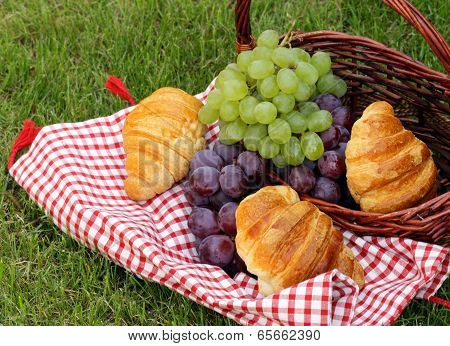 picnic on green grass with grapes and croissants