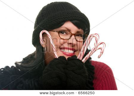 Pretty Woman Holding Candy Canes