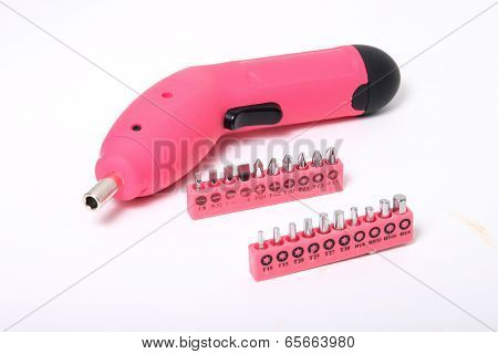 Pink  Cordless Screwdriver And Bits
