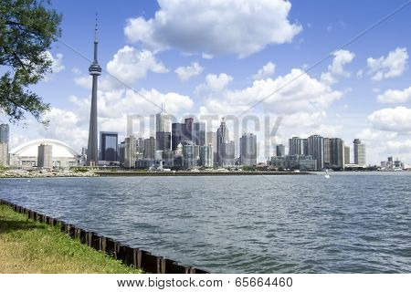 City at the waterfront, CN Tower, Lake Ontario, Toronto, Ontario, Canada