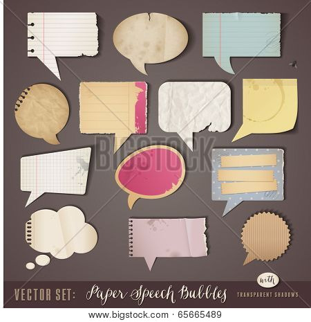 set of textured paper speech bubbles with transparent shadows (work on all sorts of backgrounds)
