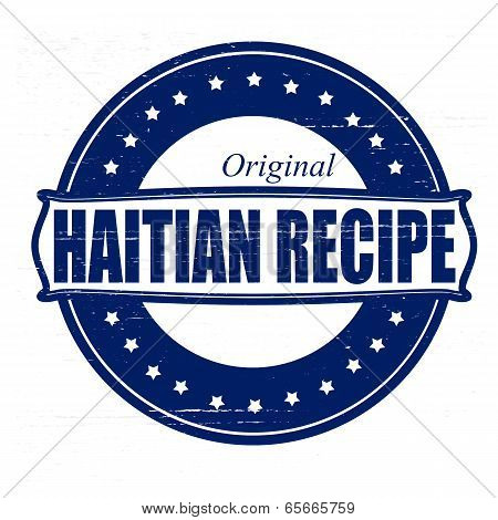 Stamp with text Haitian recipe inside vector illustration
