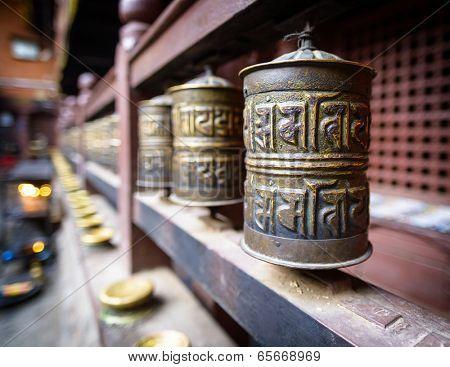 Prayer wheels in a monastery in Kathmandu, Nepal
