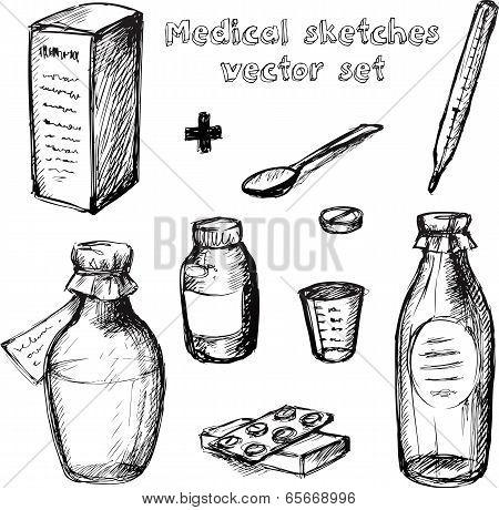 Medical sketches vector set