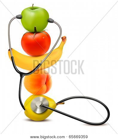 Fruit with a stethoscope. Healthy diet concept. Raster version.