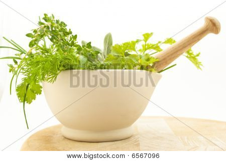 Herbs Pestle And Mortar Closeup