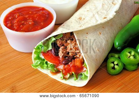 Burrito with salsa