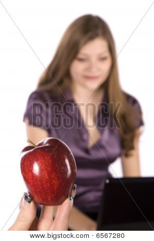 Apple And Woman In Purple
