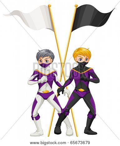 Illustration of the two superheroes with empty banners on a white background