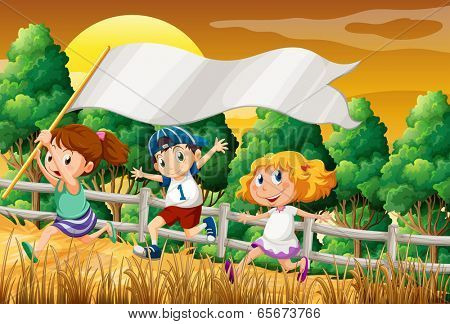 Illustration of the kids at the woods holding an empty banner