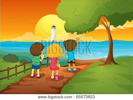 Illustration of the three kids watching the lighthouse