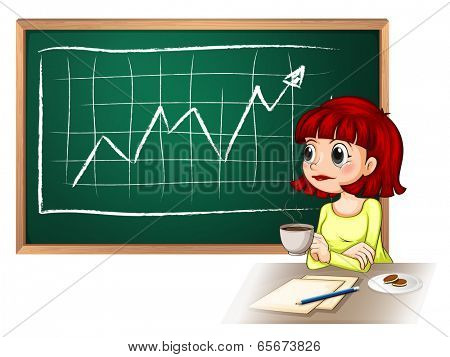 Illustration of a woman taking a break in front of the blackboard on a white background
